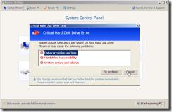 ディスクに深刻なエラー「Critical Hard Disk Drive Error」