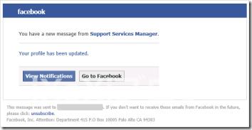 Facebookの運営元から送られてきたかのような偽メール