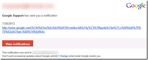 FAKE Google Support Spam Mail - Google Support has sent you a notification‏